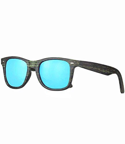 Caripe Retro Nerd Vintage Sonnenbrille verspiegelt Damen Herren - SP (Holzoptik grün - blau vespiegelt)