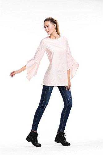JOTHIN Damen Trompetenärmel T-shirt Kleid Einfarbige Minikleid Lange T-shirt  Rosa