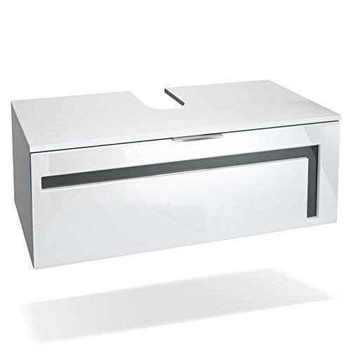Moderne Zinn Bad (Vladon Waschtisch Waschbecken Unterschrank Aloha V2, Korpus in Weiß matt/Fronten in Weiß Hochglanz mit Absetzungen in Grau Hochglanz)