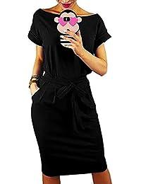 Auxo Mujer Vestidos Mujer Verano Manga Corta Vestido Sudadera Deportivo Vestido Sudadera Talla Grande Túnica Camiseta Larga Y-Negro S