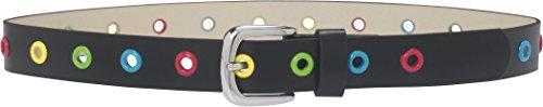 Playshoes Unisex Gürtel Stylischer Kindergürtel mit bunten Ösen, Gr. 75 cm, Schwarz (schwarz 20)