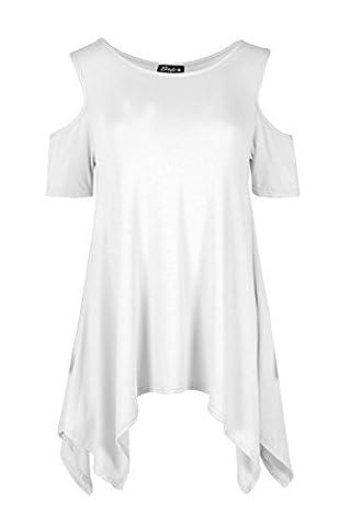 Ample Pour Dames Épaules Tombantes Ourlet Mouchoir Mancheron Bouffant Haut Uni Robe Pour Femmes - Blanc, S/M (EU 36/38)