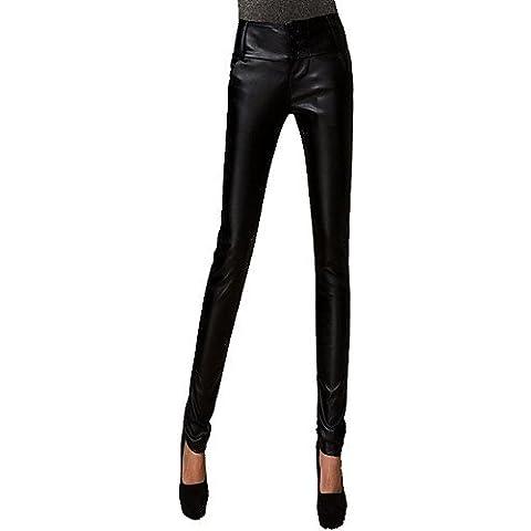 ZY/ Pantalones de Cuero Negro para Mujer Rui Xiao Y , black-xxxl , black-xxxl