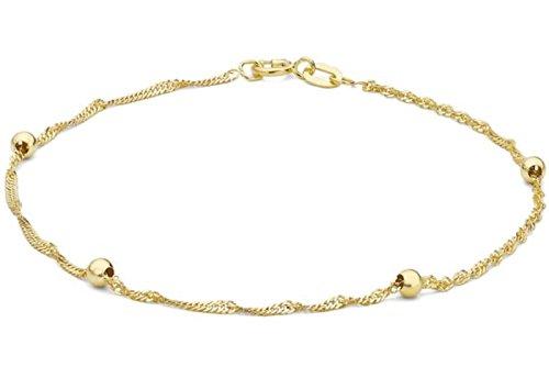 9ct Solid Gelb Gold Ball und Twist Armband Panzerkette 19cm/19,1cm UK Gift Box + Geschenk Town Talk Gold Reinigungstuch (Tiffany Armband Box)