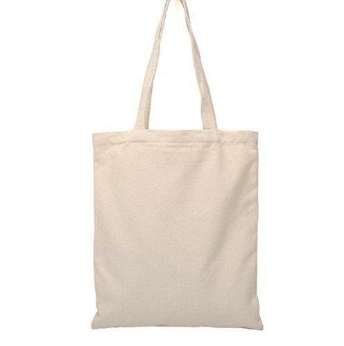 Bolsa de compras Bigboba, color blanco, de lona natural, de algodón, para mujer