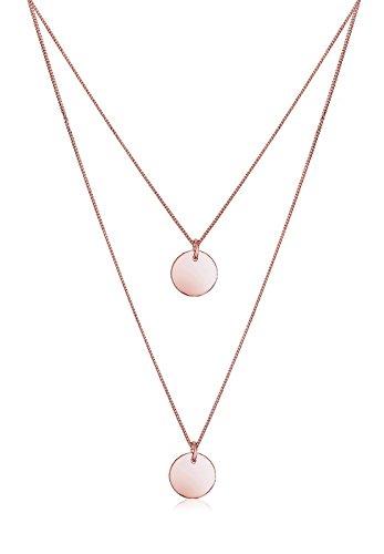 Elli Damen Schmuck Echtschmuck Halskette Kette Anhänger Layer Kreis Geo Basic Sterling Silber 925 Rosé Vergoldet Länge 45 cm