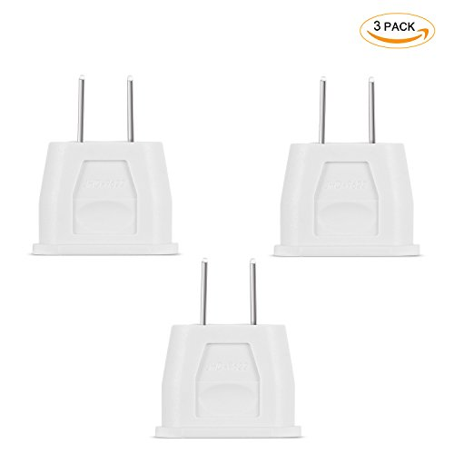 Incutex 3x adaptateurs USA adaptateur Etats-Unis adaptateur EU USA type A US adapter, Canada, Mexique, blanc