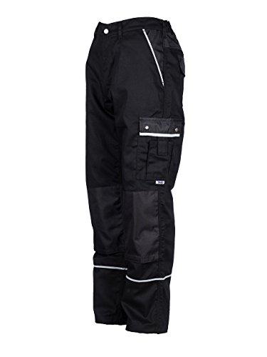TMG® - Pantaloni da lavoro cargo - tasche per ginocchiere - Qualita Tedesco - uomo - nero (W34 S / EU25)