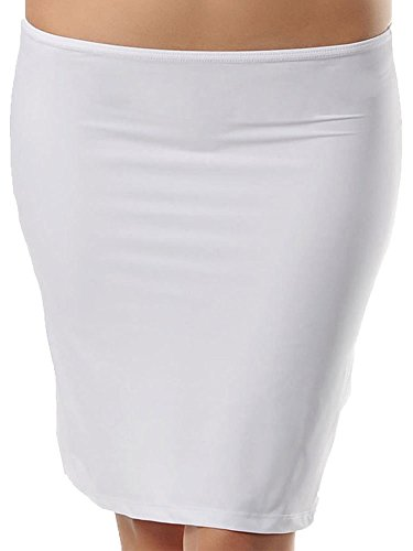 Zigma Fashion Damen Unterrock Übers Knie Jupon Unterkleid Underskirt Frauen Weiß