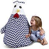 "UNIWA Stuffed Animal Bean Bag  100% Cotton Canvas Cute Chick Storage Bean Bag Chair Cover Stuffie Seat Kids Plush Toys Towel Blanket Pillow Linens Organizer Zipper Bags 35"""