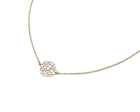 cc1428F Halskette feine Kette und Anhänger Kreis Durchbrochenes Stahl Rotgold–Modus Fantasie