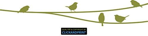 Olive Vögel (CLICKANDPRINT Aufkleber » Vögel, 320x56,4cm, Olive • Wandtattoo / Wandaufkleber / Wandsticker / Wanddeko / Vinyl)
