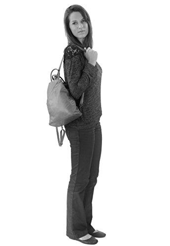 histoireDaccessoires - Lederrucksack für Damen - SA135928RV-Ycare Gewittergrau
