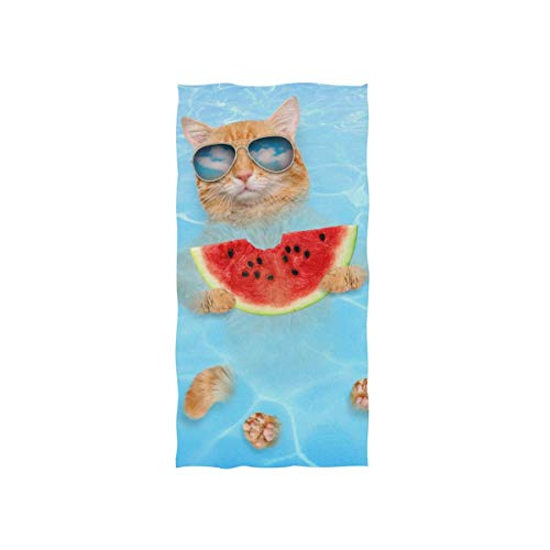 FunnyStar Cat and Dog Wearing Sunglasses Hand Towel 100% Super Ultra Soft Cotton Luxury Towels for Bathroom 27.5