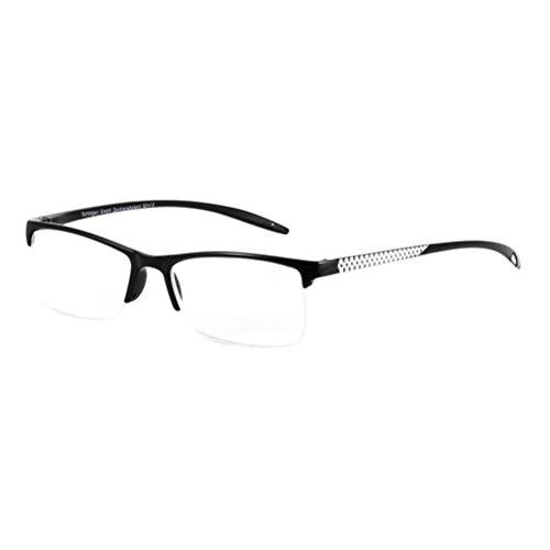 Zhhlinyuan Unisex Lesebrille Rechteckig Hälfte Rahmen Brillen - Stilvoll Leser Frühlingsscharniere HD-Vision Brille