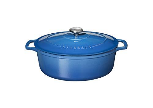 Chasseur PUC473541 Bräter, oval, 35 cm, emailliertes Gusseisen, 8,5 Liter, Blau