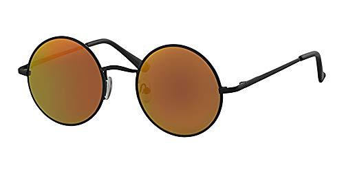 Eyewear World Runde Sonnenbrille, Federscharniere, kostenlose gelbe Kordel mit roten Spiegelgläsern, schwarzer Metallrahmen