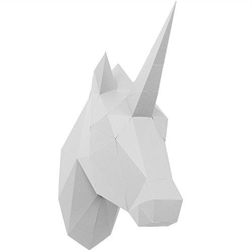 PaperShape 3D Papier Tier Einhorn Ohne kleben Sehr Schnell zusammengebaut. Tierkopf Wand-Trophäe als Deko aus FSC-Papier in 3 Farben Einhorn-Kopf Maße 42 x 14 x 35 cm. Made in Germany (Pure White) -