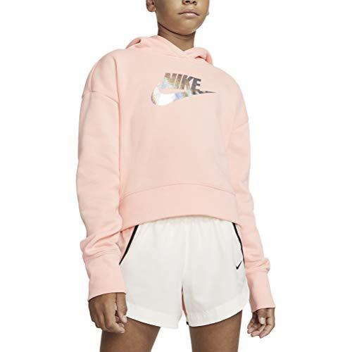 Nike Mädchen G NSW FF Crop Sweatshirt, Bleached Coral, S