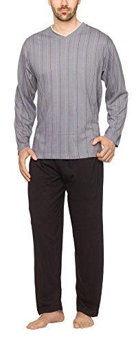 Moonline - Herren Schlafanzug lang aus 100% Baumwolle mit V-Ausschnitt und Streifen-Design, Farbe:Streifen-Druck auf grau, Größe:54/56