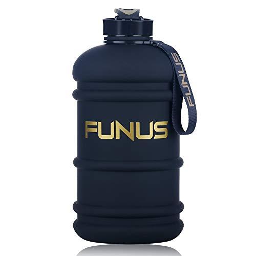 Lustige Wasserflasche, 1,3 l - 2,2 l, geruchlos, BPA-frei, auslaufsicher, wiederverwendbar, große Kapazität für Männer und Frauen, Fitnessstudio, Outdoor Klettern, Unisex, 2.2L Matte Black