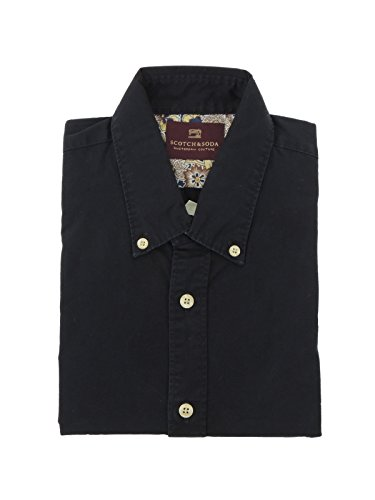 Scotch & Soda Herren Freizeit-Hemd, einfarbig Schwarz