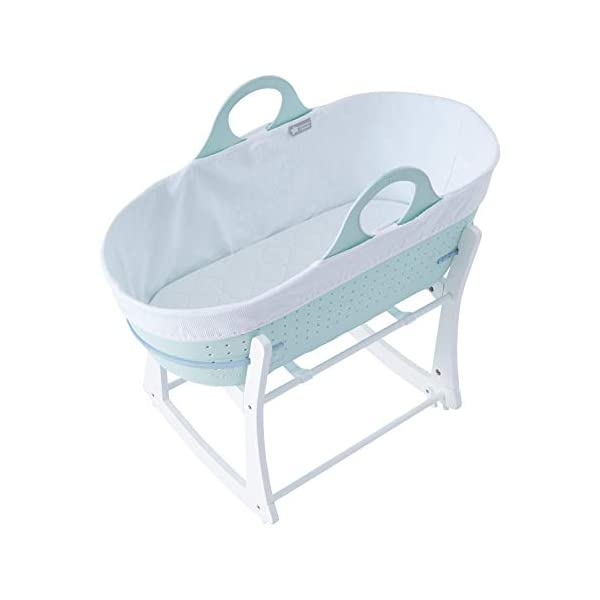 Tommee Tippee Sleepee Baby Moses Basket and Rocking Stand Green Tommee Tippee Safe, modern, portable baby moses basket, perfect to keep your newborn baby nearby as they sleep, day or night. your sleepee moses basket comes with complete with mattress, liner and rocking stand. Choose static or rocking position, the curved base on the stand allows you to gently rock your baby to sleep and features adjustable safety stops to give you the option of rocking or keeping it still. Easy to clean, the sleepee moses basket can be cleaned with warm soapy water. the water-resistant mattress cover is wipe clean and machine washable. the 100 % cotton liner is machine washable. 1