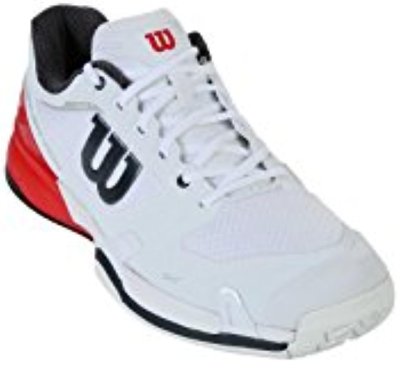 Wilson Rush Pro 2.5 Zapatillas de Tenis para Hombre, White/Fiery Red/Ebony, 10  -