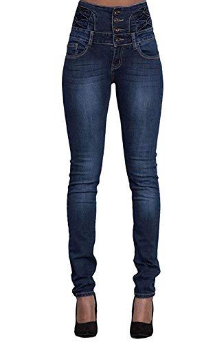 Yidarton Jeans für Damen Vintage Lässige Dünn Denim Strecken Schlank Hochbund Knopfleiste Jeanshose Röhrenjeans Push Up Hose (Dunkelblau, S) - Skinny 22 Frauen Jeans Für Größe