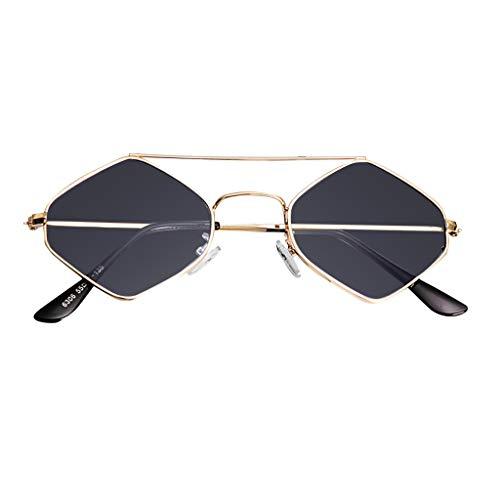 fazry Retro Sonnenbrille Vintage schmale Katzenaugenbrille für Frauen Clout Brille Kunststoffrahmen Gr. Einheitsgröße, grau