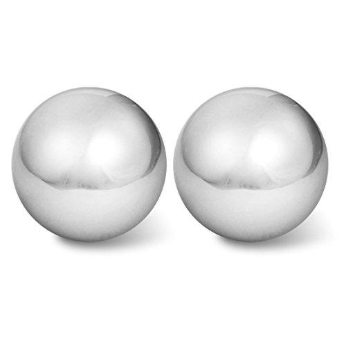 Timagebreze 2 piezas de bola de masaje de plata tono en mano de la palma de ejercicios de 2 pulgada Diametro con sonido de carillon