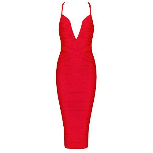 HLBandage Frauen Sexy Spaghetti Bügel V-Ausschnitt Knielangen Verband-Kleid Rot