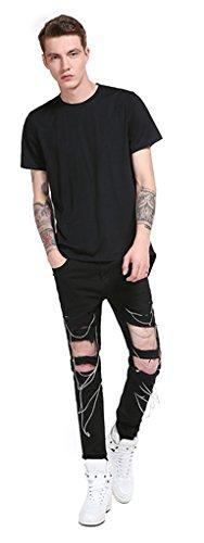Whatlees Herren Hip Hop Urban Basic Design Lang geschnittenes T-Shirt aus weiches Jersey B568-Black