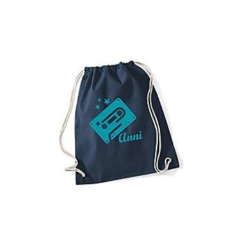 SupaRina Turnbeutel Rucksack Sportbeutel Sporttasche für Mädchen mit Vögelchen Kassette Tape und Namen in Deiner…