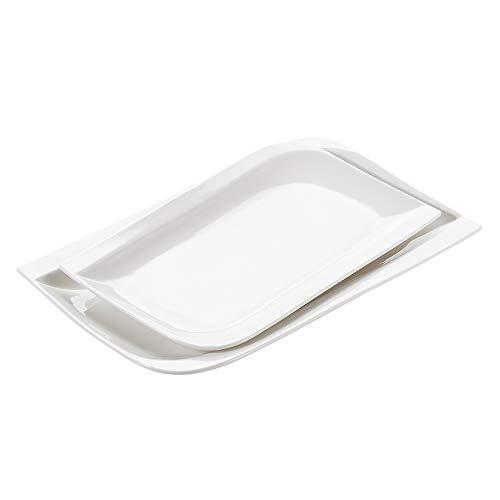Vancasso gitana servizio da tavola piatti in porcellana ceramica combinazione rettangolo set 2 pezzi, piatti piatto, piatti da dessert insalata pasta pizza bianca crema per 1-2 persone