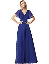 Ever Pretty Women's Double V-Neck Short Flutter Sleeves Empire Waist Elegant Chiffon Long Evening Dresses 09890