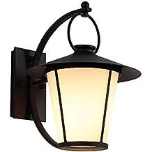 Lámpara de pared al aire libre Retro Cilindro vidrio de hierro interior Linternas E27 Soporte de
