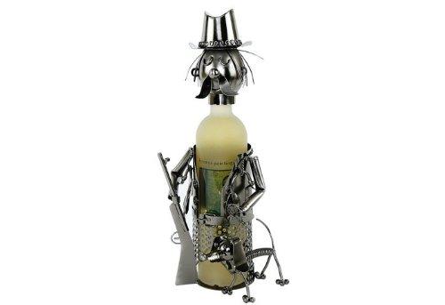 Flaschenhalter JÄGER MIT HUND aus Metall