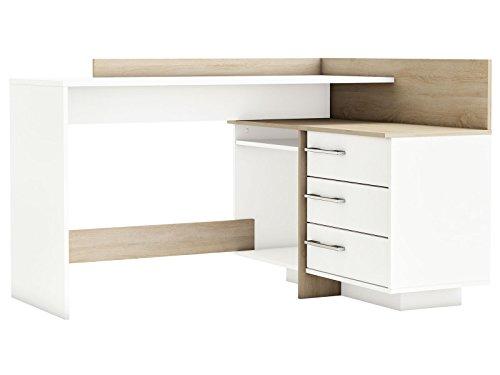 """Eckschreibtisch Schreibtisch Arbeitstisch Bürotisch Computertisch Tisch \""""Thales\"""" (weiß mit Absatz Sonoma/Eiche)"""