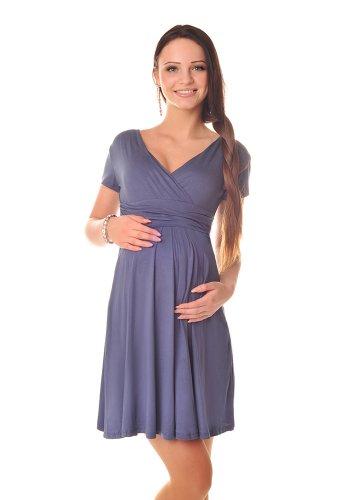 Purpless Damen Sommerkleid Umstandskleid Schwangerschaft Kleid V-Ausschnitt Kurzarm 8417 (38, Graphite) (Sommer-monitor Touch Baby)
