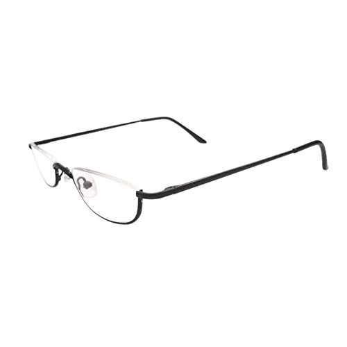 Halbrandbrille Lesebrille Herren - Meijunter Mode Retro Frühling Scharnier Metall Hälfte Mond Rahmen Leser Unisex Brillen Stärke +1.00 bis +4.00