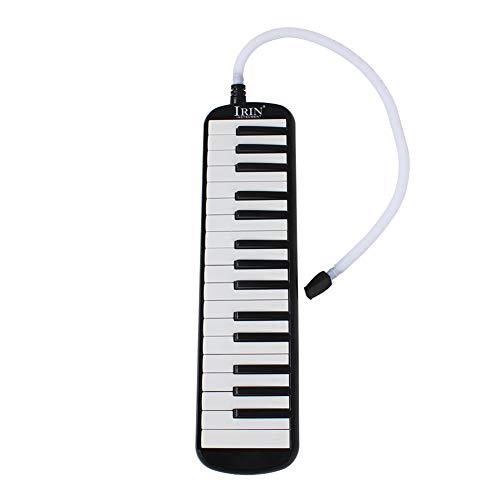 Melodica 32 Tastiere Elegante Portatile a Bocca Soffiato per Bambini Adulti + Boccaglio + Tubo Morbido Flessibile, Colore: nero