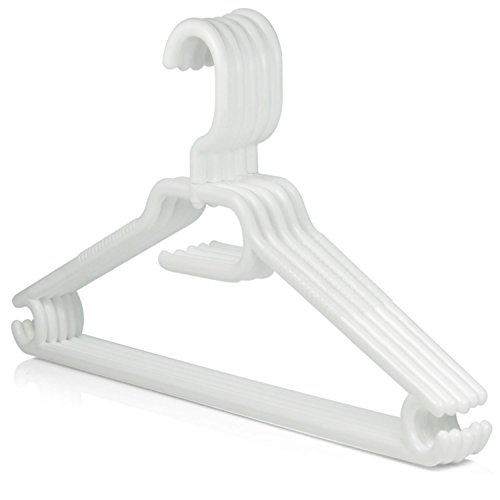 Hangerworld 10 Perchas 40cm Plástico con Ganchos para Tiras y Barra Pantalón Gancho Giratorio Plástico