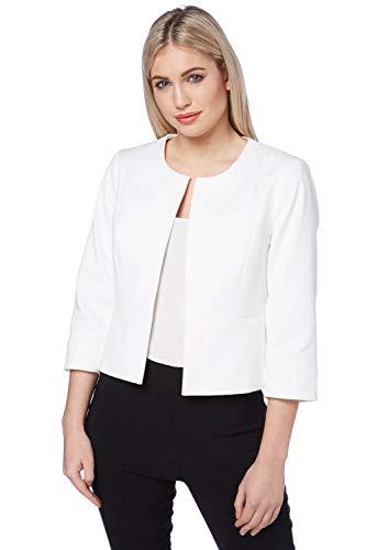 Roman Originals Damen taillierte Jacke - Damen Jacquardmuster, vorn offen, Blazer, Büro, Hochzeit, Feier, Bolero - weiß - Elfenbein - Größe 46