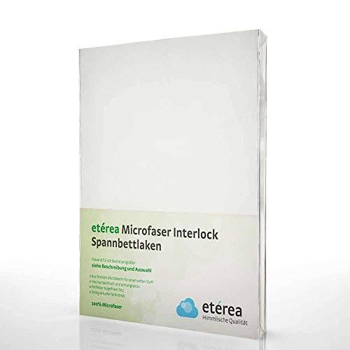 #5 Etérea Classic Microfaser Interlock Kinder-Spannbettlaken, Spannbetttuch, Bettlaken, 5 Farben, 60x120 - 70x140 cm, Weiss