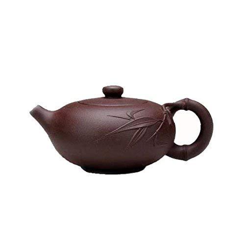 Strong-Willed 400ml Yixing Purple Clay Teapot Bamboo Leaves Pattern Zisha Pot Vintage Tea Kettle Chinese Kung Fu Tea Set Drinkware Decoration Teaware