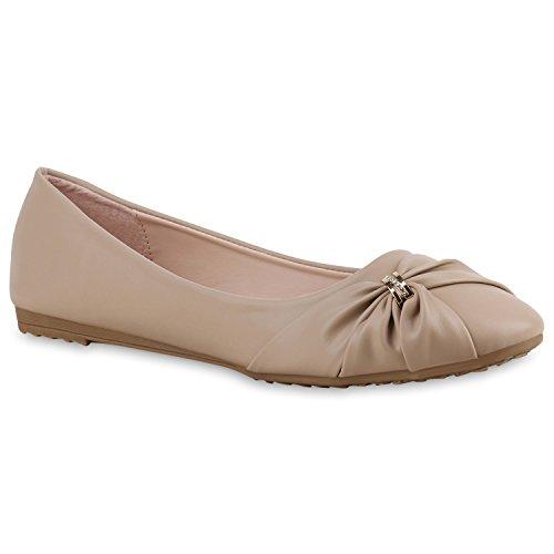 Klassische Damen Schuhe | Strass Ballerinas | Elegante Slipper| Übergrößen | Metallic Glitzer Flats Creme Steinchen