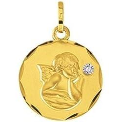 ANGE - Médaille Religieuse - Or 9 carats - Hauteur: 15 mm - www.diamants-perles.com
