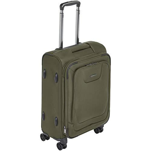 AmazonBasics - Premium-Weichschalen-Trolley mit TSA-Schloss, erweiterbar, 53 cm, Olivgrün - Erweiterbar Reisegepäck