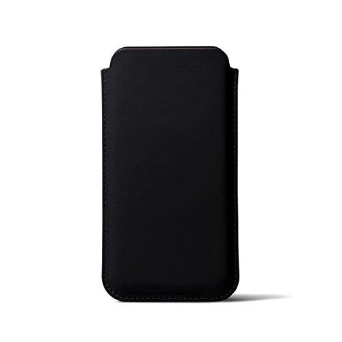 Lucrin - Klassische Schutzhülle für iPhone X - Schwarz - Glattleder Schwarz
